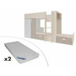 Vente-unique Łóżko piętrowe julien – 2 × 90 × 190 cm – szafa – kolor biały i taupe + 2 materace zeus 90x190