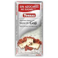 Torras Czekolada biała z jagodami goji bez cukru, bezglutenowa 75g  (8410342006325)