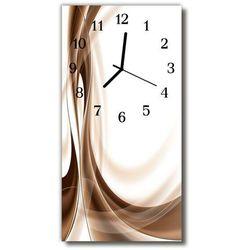 Zegar szklany pionowy sztuka grafika linie beżowy marki Tulup.pl