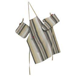 Dekoria Komplet kuchenny łapacz, rękawica oraz fartuch, pasy brązowo-beżowe, kpl, Norge - produkt z kategorii- Fartuchy kuchenne