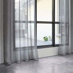 Atmosphera Cienka zasłona okienna szara - gotowa zasłona na przelotkach do salonu lub sypialni (3560234484405)