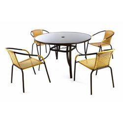 Zestaw ogrodowy Bistro, stół + 4 krzesła, beżowy