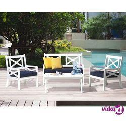 Beliani krzesło z litego drewna białe z poduszką ciemnoniebieską baltic (4251682203876)
