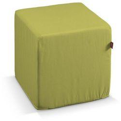 pufa kostka twarda, oliwkowa zieleń, 40x40x40 cm, loneta marki Dekoria