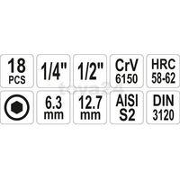 Zestaw kluczy trzpieniowych hex 18 cz / YT-7752 / YATO - ZYSKAJ RABAT 30 ZŁ, YT-7752