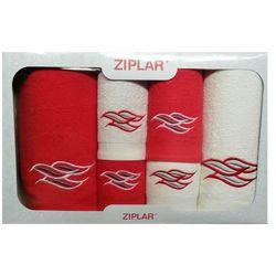KOMPLET ręczników 6 szt. ZIPLAR czerwony/ekri, ZR02-2-09