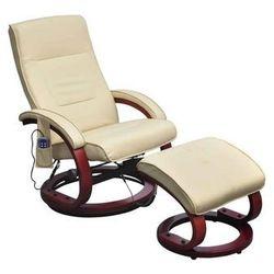 vidaXL Fotel masujący ze sztucznej skóry z podnóżkiem, kremowy