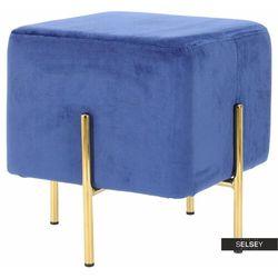 Selsey pufa tarjan welwetowa niebieska na złotych nóżkach
