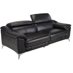 3-osobowa skórzana sofa z elektrycznie regulowaną funkcją relaks DALOA - Czarny