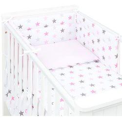 MAMO-TATO 3-el dwustronna pościel dla niemowląt Gwiazdki szare i różowe D / jasny róż do łóżeczka 70x140 cm