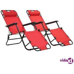 Vidaxl składane leżaki z podnóżkiem, 2 szt., stalowe, czerwone