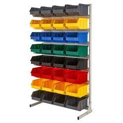 Array Regał warsztatowy/garażowy z pojemnikami 32 szt. - stojący, jednostronny