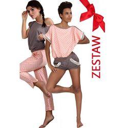 ZESTAW Piżama w kropeczki krótkie spodnie + Piżama mocca długie spodnie P-374/1+P373/1, kup u jednego z pa