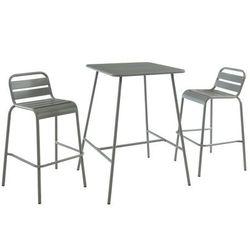Bar ogrodowy i 2 sztaplowane barowe stołki ogrodowe MIRMANDE z metalu – kolor szary