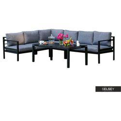 SELSEY Zestaw mebli ogrodowych Erber modułowy ze stołem czarny (5903025547527)