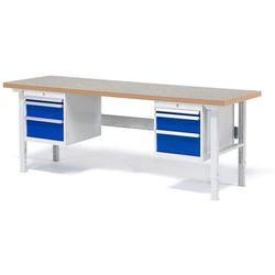 Stół roboczy solid, zestaw z 6 szufladami, 500 kg, 2000x800 mm, winyl marki Aj produkty