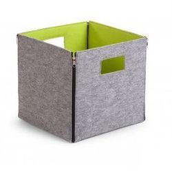 , filcowe składane pudełko na zabawki szary i limonka 32x32x29, marki Childhome