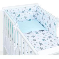 MAMO-TATO 3-el dwustronna pościel dla niemowląt 70x140 Starmix turkus / turkus