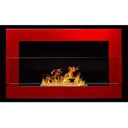 Globmetal Biokominek 650x400 czerwony połysk z szybą by
