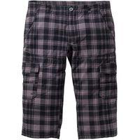 Spodnie bojówki 3/4 Regular Fit Straight bonprix szary w kratę, bojówki