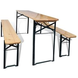 Vidaxl Stół biesiadny z 2 ławkami, 177 cm, drewno sosnowe