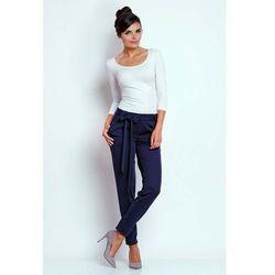 Nommo Granatowe stylowe spodnie z wiązaną szarfą