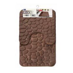 Galicja rocky dywanik łazienkowy 2 elementy 50 x 50 cm 50 x 80 cm memory foam pianka pamięć kształtu brąz 6242