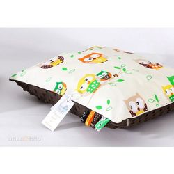Mamo-tato poduszka minky dwustronna 30x40 sówki kremowe / brąz