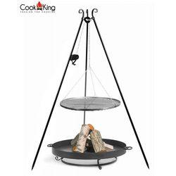 Zestaw 3w1, grill z kołowrotkiem stal czarna 60cm + palenisko malta 70 cm marki Cook&king