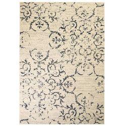 Nowoczesny dywan, wzór kwiatowy, 80 x 150 cm, beżowo-niebieski