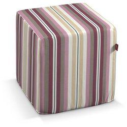 Dekoria Pokrowiec na pufę kostke, fioletowo-różowe pasy, kostka 40x40x40 cm, Mirella