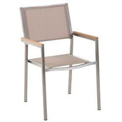 Meble ogrodowe beżowe - krzesło ogrodowe - balkonowe - tarasowe - grosseto marki Beliani
