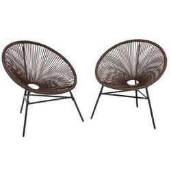 Zestaw 2 krzeseł ogrodowych brązowe acapulco marki Beliani