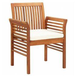 Krzesło ogrodowe z drewna akacji Kioto - biel, vidaxl_45964
