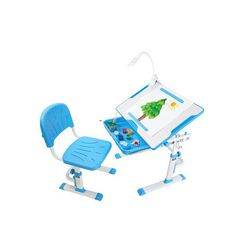 Ergonomiczne biurko z krzesełkiem - Cubby Karo Blue FunDesk, Fd-CubbyKaro-blue