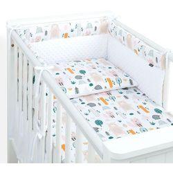 MAMO-TATO 3-el pościel do łóżeczka 70x140 minky LUX - Forest / biały