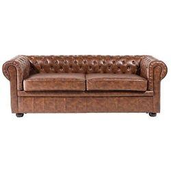 Sofa skóra ekologiczna złoty brąz old style chesterfield marki Beliani