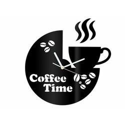 Congee.pl Zegar z pleksi na ścianę coffee time z białymi wskazówkami
