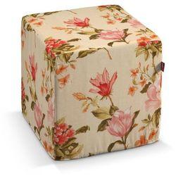 Dekoria pufa kostka twarda, duże kwiaty na kremowym tle, 40x40x40 cm, londres