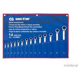 ZESTAW KLUCZY PŁASKO-OCZKOWYCH Z GRZECHOTKĄ DWUKIERUNKOWĄ 14cz. 8 - 24mm King Tony 12214MRN (4710591920101)
