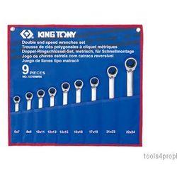 ZESTAW KLUCZY OCZKOWYCH Z GRZECHOTKĄ DWUKIERUNKOWĄ 9cz. 6 - 24mm King Tony 12709MRN