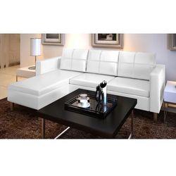 Vidaxl  sofa z białej sztucznej skóry 3 osobowa l