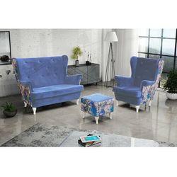 """Zestaw """"RIKI"""" sofa + fotel+podnóżek - błękit, kolor niebieski"""
