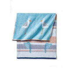 Bonprix Ręczniki z motywem mew niebieski