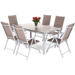 Home & garden Meble ogrodowe aluminiowe ibiza silver / taupe 6+1 (5902425320358)