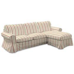 Dekoria Pokrowiec na sofę Ektorp 2-osobową i leżankę, ecru tło, czerwone paski, sofa ektorp 2-os. i leżanka, Avinon
