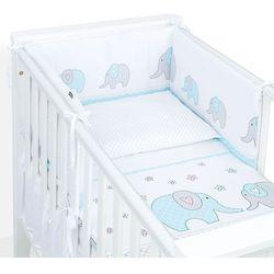 2-el dwustronna pościel dla niemowląt 100x135 elefant turkusowy / kropki szare marki Mamo-tato