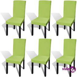 Vidaxl elastyczne pokrowce na krzesła w prostym stylu zielone 6 szt.