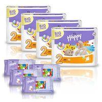 Pieluszki Happy Mini 4x78szt. + GRATIS 4x Chusteczki nasączone Happy