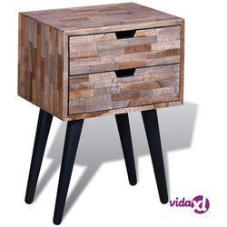 vidaXL Szafka nocna z odzyskanego drewna tekowego z 2 szufladami